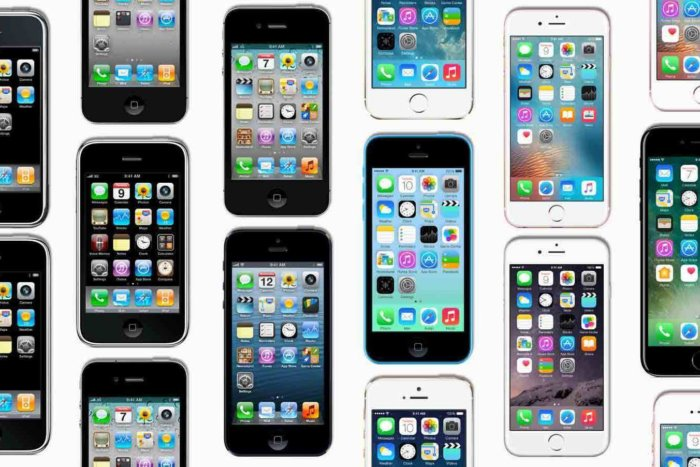 Image of iphone mosaic throughout the years.