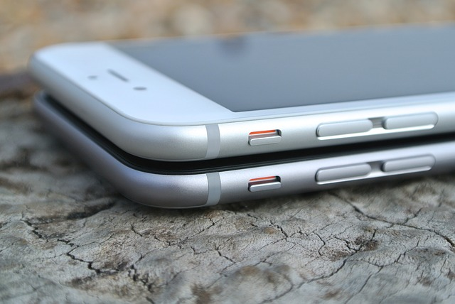 Two iPhones on top of each other.